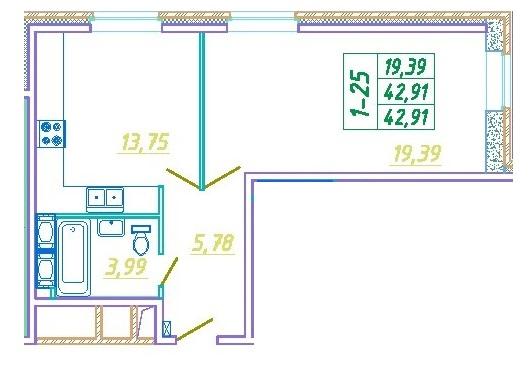 Планировка Однокомнатная квартира площадью 42.91 кв.м в ЖК «Подкова»