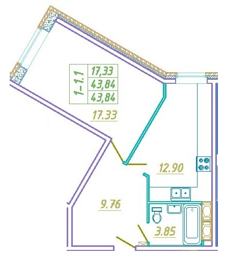 Планировка Однокомнатная квартира площадью 43.84 кв.м в ЖК «Подкова»