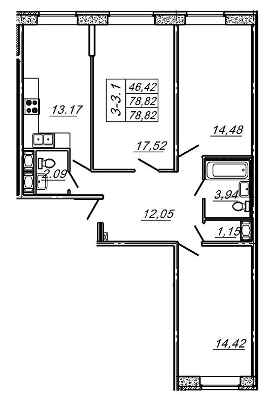 Планировка Трёхкомнатная квартира площадью 78.82 кв.м в ЖК «Подкова»