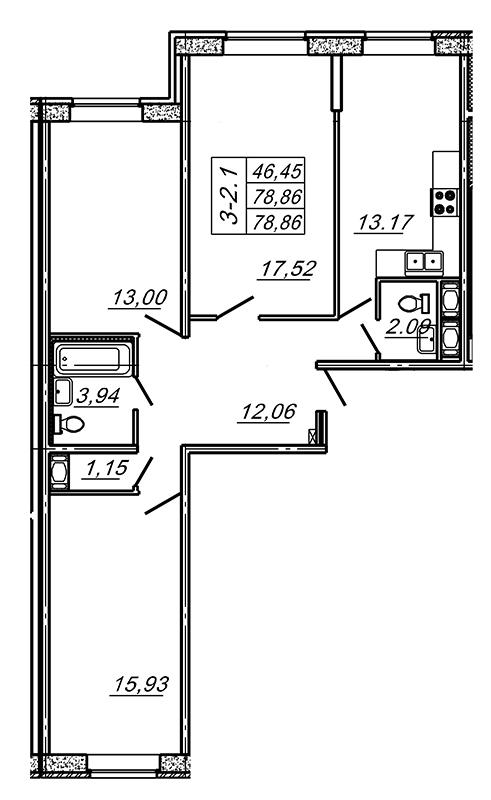 Планировка Трёхкомнатная квартира площадью 78.86 кв.м в ЖК «Подкова»